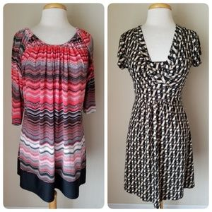 2 Fall Printed Dresses Stretch Size 8